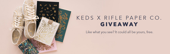 Enter to win a pair of Free Keds shoes plus Rifle Paper Co candles and a gift set. Five Winners