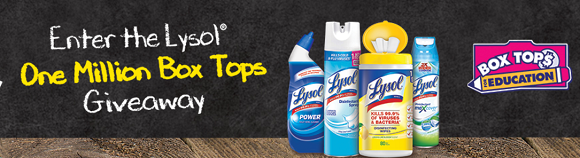 Lysol is giving away a total of ONE MILLION Bonus Box Tops through their sweepstakes and instant win game, so there are plenty of chances to win!