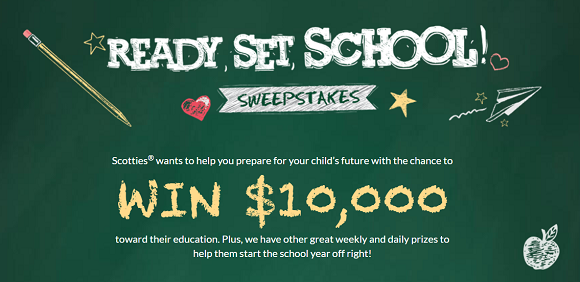 Ready. Set. School! Scotties wants to help you prepare for your child's future with the chance to WIN $10,000 in cash or one of 1,424 other prizes
