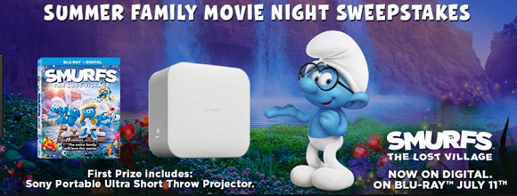 Enter the Smurfs: The Lost Village Ultimate Summer Movie Night Sweepstakes for your chance to win a Sony Portable Projector and Smurfs The Lost Village on Blu-Ray