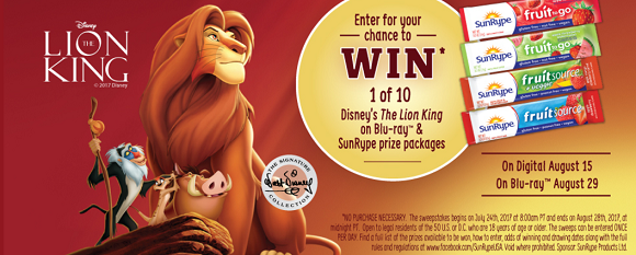Enter for your chance to win 1 of 10 Disney's The Lion King on Blu-ray and SunRype prize packages