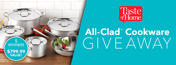 Taste of Home is giving awayAll Clad Stainless Steel 10-Piece Cookware Set to 5 lucky winners. Enter Now for your chance to win!