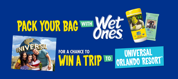 Pack your bags with WetOnes for a chance to win a trip for 4 to Universal Orlando Resort in Florida