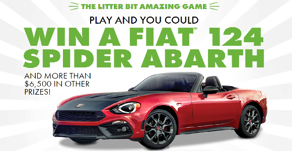 World's Best Cat Litter is giving its fans the opportunity to use less, get more and win big with the Litter Bit Amazing Game - offering one lucky player the chance to drive off in a Fiat 124 Spider Abarth,and more than$6,500in additional prizes.