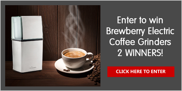 Enter for your chance to win one of two Brewberry electric Coffee Grinders. Grind coffee beans for French Press or Cold Brew. Grind herbs, nuts, grains, or spices.