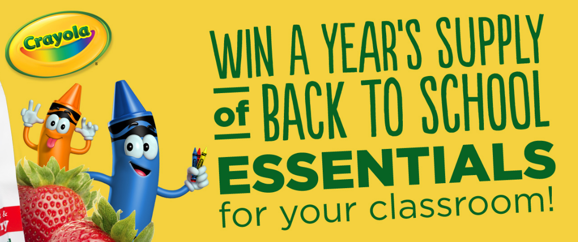 WIN $2,000 CASH! Enter for your chance to win a year's supply of school essentials from Buddy Fruits and Crayola