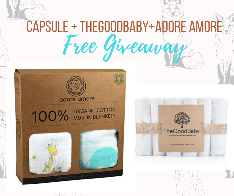Enter for your chance to win a 2-Pack Organic Cotton Muslin Swaddle Blankets by Adore Amore + 6-pack 100% Organic Turkish Cotton Baby Washcloths by The Good Baby.