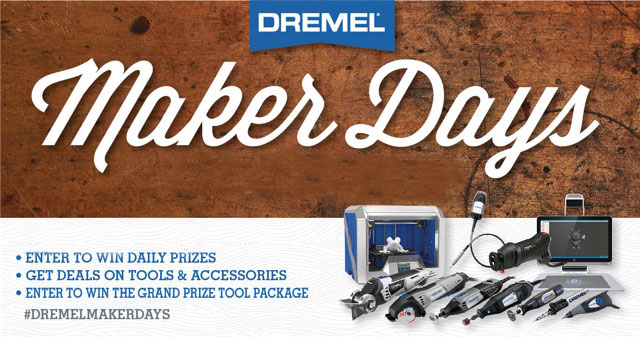 Enter the Dremel Maker Days Sweepstakes daily for your chance to win daily Dremel tools including engravers, Dremel 300, pet grooming kits and more