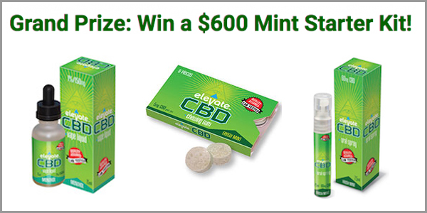 "Enter for your chance to win a $600 ""Mint Starter Kit"" of Elevate's most popular CBD wellness products."