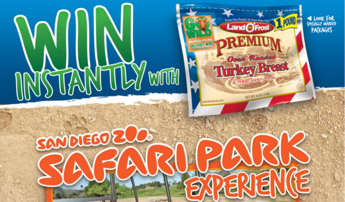 Get your Land O' Frost Go Wild Instant Win Game codes to enter for your chance to win 1 of 1,001 prizes including a trip to the San Diego Zoo