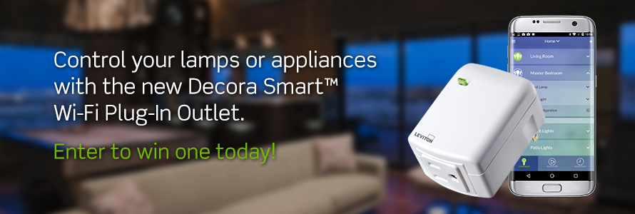 Leviton is giving away 25 Decora Smart Wi-Fi Plug-In outlets. The Decora Smart™ Wi-Fi plug-in outlets can be controlled by your smartphone or voice activated with the Amazon Echo or Google Assistant. It's perfect for lamps, fans, coffee makers and more!