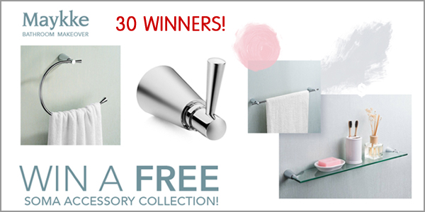 Maykke is celebrating their new website by giving away 30 sets of their Soma bathroom accessory collection, each worth $180!