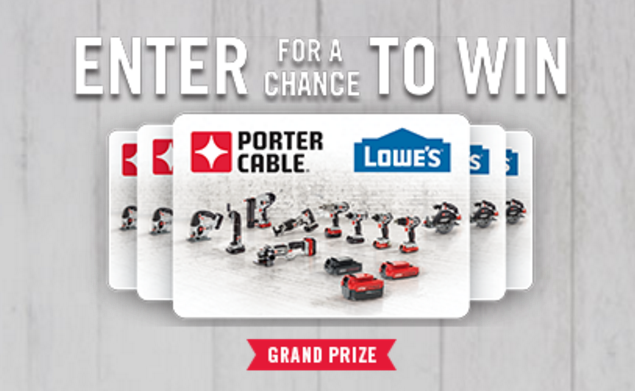 Enter the PORTER-CABLE Red Hot Summer Giveaway for a chance to win a $1,000 Lowe's gift card or great PORTER-CABLE 20V Power Tools.