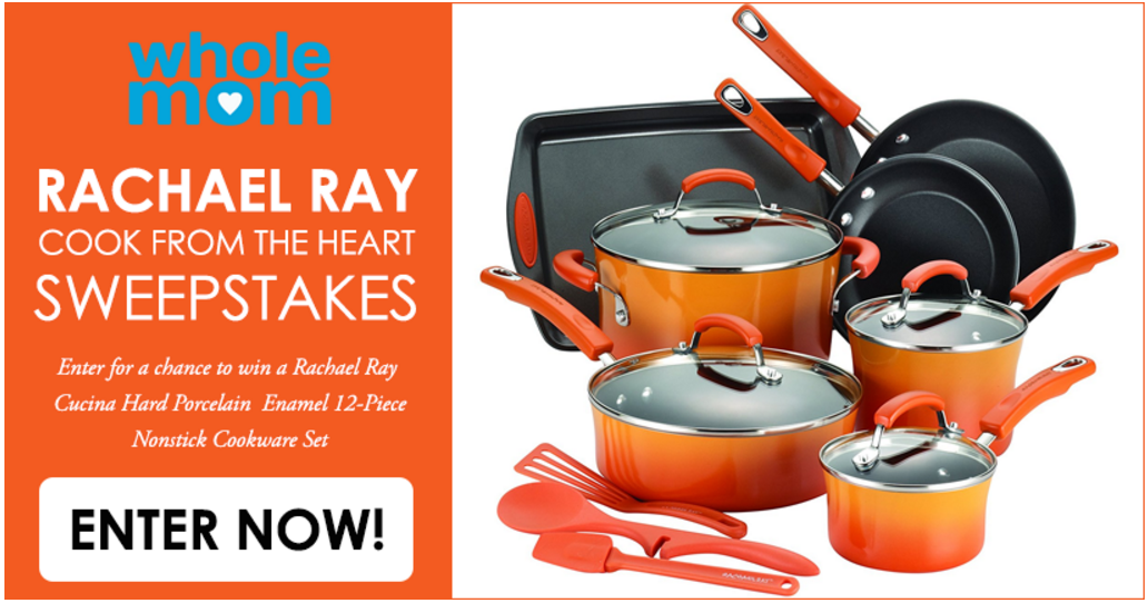Enter the Rachael Ray Cook From the Heart Sweepstakes to win a 12-Piece Rachael Ray Cookware Set