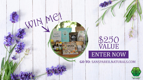 Enter for your chance to win$250 in Sans Pareil Naturals natural body and skincare books and supplies to make your own natural skin care products. Sans Pareil Naturals is dedicated to providing the highest quality skin and body care products with all natural, safe ingredients.