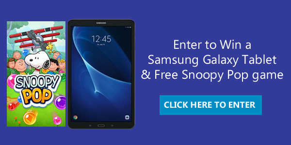 Enter for your chance to win aSamsung Galaxy Tablet and FREE Snoopy Pop game app