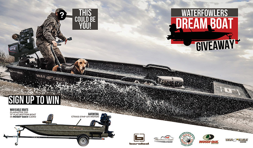 """Enter to win a Banded Edition """"Gladiator"""" War Eagle Boat (with trailer) finished in Mossy Oak brand camo, a GatorTail GTRXD 37HP Motor and a Whooooole bunch of Hunting gear from Banded, Avery & GHG Decoy Systems."""