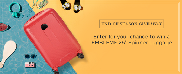 """Here's a quick ending giveaway from Delsey. Enter to win a 25"""" spinner suitcase from Delsey's EMBLEME collection. This stylish and ultra-lightweight carry-on spinner luggage is highly resistant. The scratch-resistant suitcase features two fully lined compartments for convenient packing and offers plenty of room for personal items."""