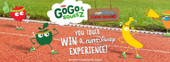 GoGo squeeZ giving away a runDisney run-cation which includes a three night vacation to WALT DISNEY WORLD Resorts along with two entries to the upcoming runDisney races!