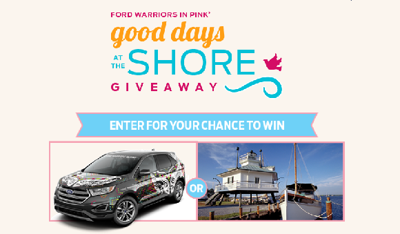 Ford Warriors in Pink is giving twice the good days during this giveaway. A grand-prize winner will drive off in a 2017 Ford Edge Titanium, and a runner-up will enjoy a five-day getaway for four to the Eastern Shore of the U.S.
