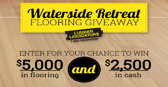 DIY Waterside Retreat Flooring Giveaway for your chance to win $5,000 in flooring AND $2,500 in cash