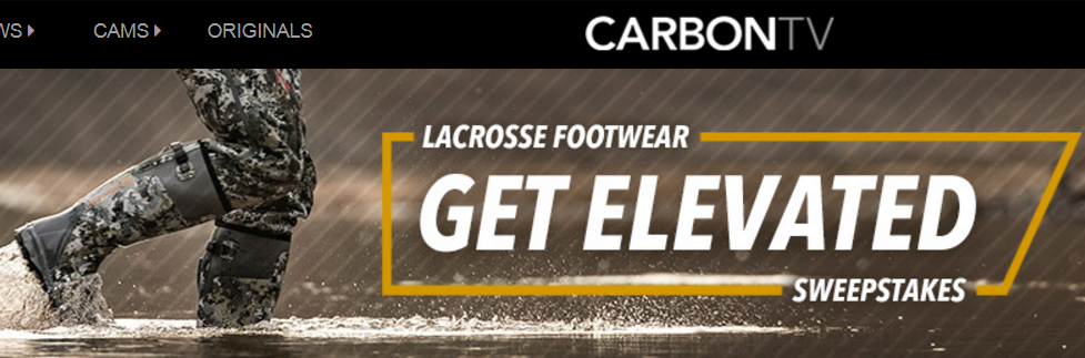 Enter for a chance to WIN Sitka Gear and a hunting trip worth $13,000 from LaCrosse Footwear http://bit.ly/CarbonTVSweeps