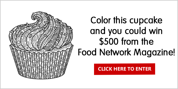 Click Here to Color the Food Network Magazine cupcake to win $50 or $500 in cash!