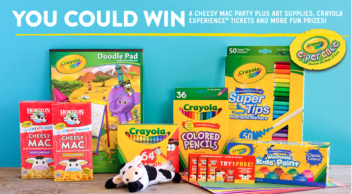 You could win a Cheesy Mac Party plus art supplies, crayola Experience tickets and more fun prizes when you enter the Horizon Happy Cow Crayola Create and Win Sweepstakes