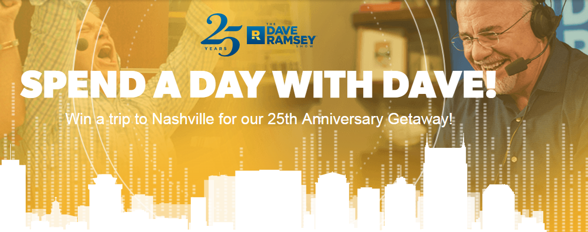 Would you love to meet Dave Ramsey and spend the day with him? Well, 2 lucky grand prize winners will get to do just that.