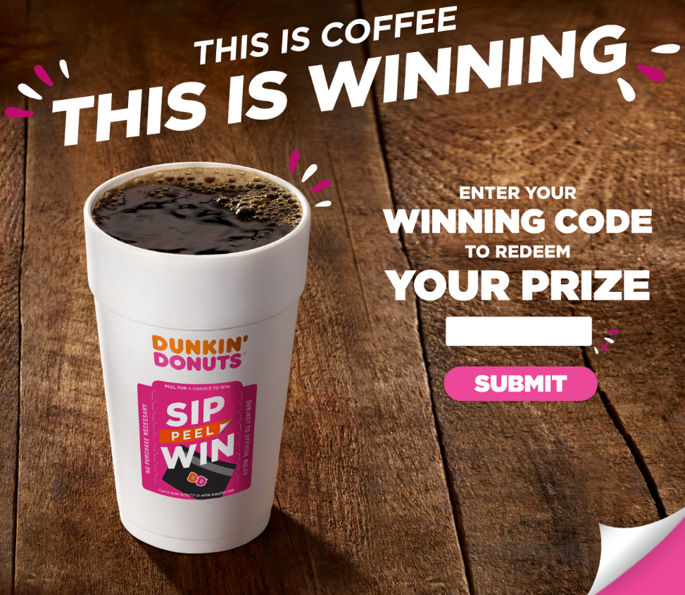 Dunkin Donuts Coffee Sweepstakes - Official Rules