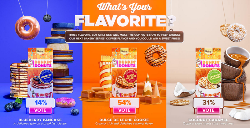 Pick your favorite Dunkin Donuts Bakery Series coffee flavor and you could win $5,000 or a year's worth of the winning flavor to make at your home. Register to vote now and get started!