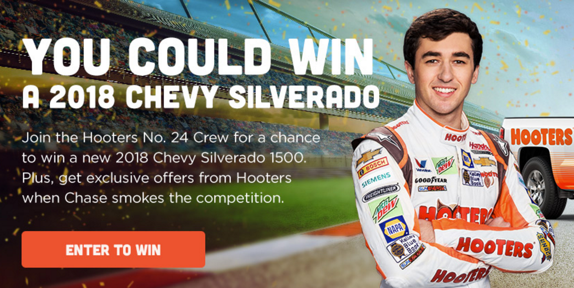 Hooter is giving away a FREE2018 Chevrolet Silverado 1500 LTR worth over $33,000. Enter Now!