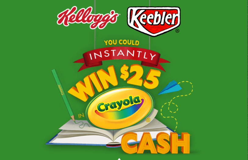 Look for a winning Kellogg's Crayola cash card insidespecially marked boxes of Kellogg's products. You could win 1 of 5,000 $25 cash cards from Kellogg's