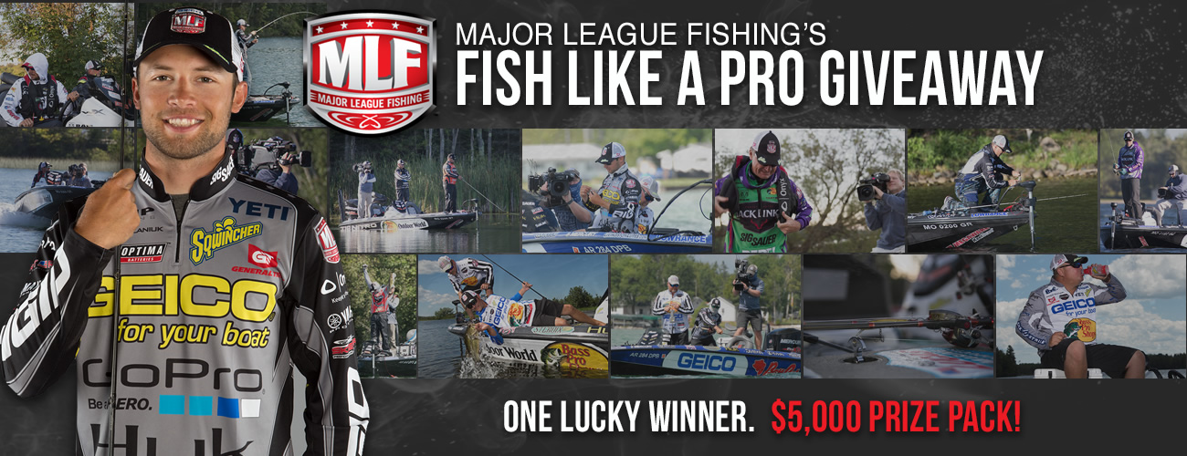 One lucky winner will receive a $5,000 Grand Prize Package to fish, share and win like the MLF Pros. Enter every day for your chance to win!