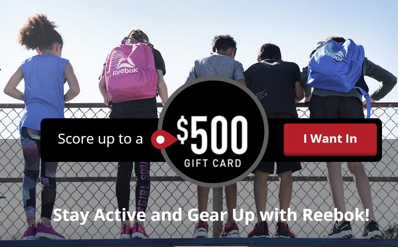 Reebok and Quikly are giving away $100, $300 and $500 Reebok gift cards