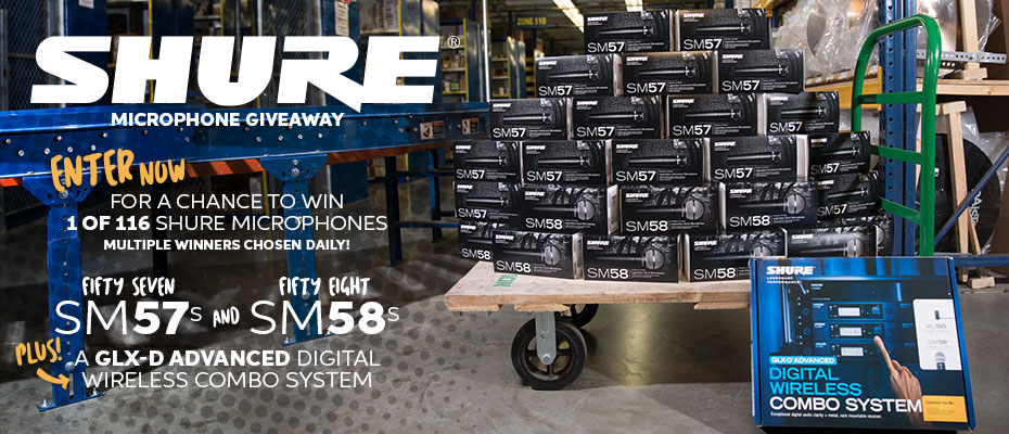 Sweetwater is giving away 57 Shure SM57 mics and 58 SM58 mics, plus a Shure SM58 Wireless System. That's 116 prize winners. That means multiple drawings every day – and more chances to win! Entering is easy.