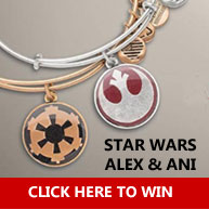 Enter for your chance to win TWO gold Alex and Ani Star Wars bracelets: the Jedi Order Bangle and Imperial Crest Bangle. Your fashion sense will rule with these Star Wars Bangle bracelets by Alex and Ani. The Galactic Empire's power will be close at hand