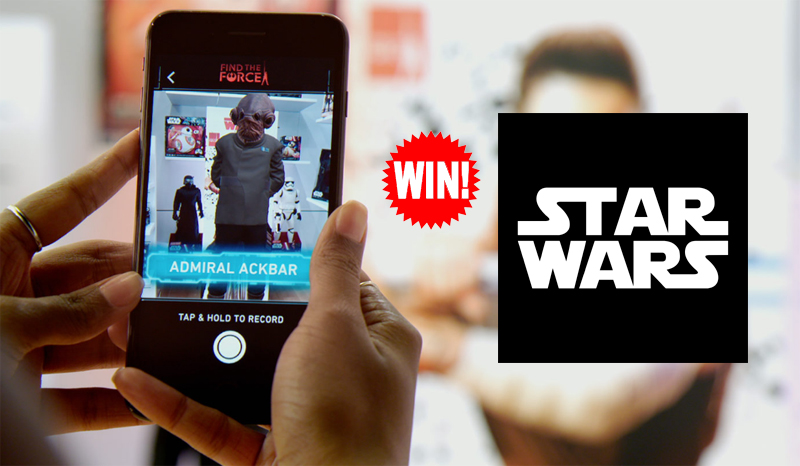 """QUICK ENDING! Download the Free Star Wars app and take a photo of the """"Find the Force"""" graphic to enter for your chance to win a trip to Los Angeles, California to attend the global premiere of Star Wars: The Last Jedi and to San Francisco and get a tour of the Lucasfilm offices."""