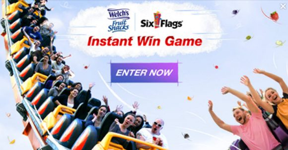 Play the Welch's Fruit Snacks Six Flags Instant Win Game for your chance to win daily Six Flags tickets or a Free box of Welch's Fruit Snacks!