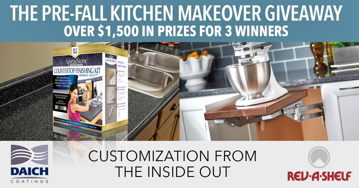 Enter for your chance to win over $1,500 in prizes from Daich Coatings and Rev-A-Shelf! Be Inspired to do your own DIY remodeling and find new ways with Daich Products and Rev-A-Shelf to renew your kitchen – inside and out