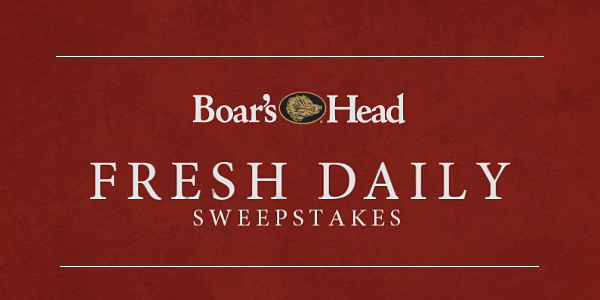 Enter theBoar's Head Brand Fresh Daily Sweepstakes for your chance to win 1of 30 daily prizes or a one-year supply of Boar's Head products