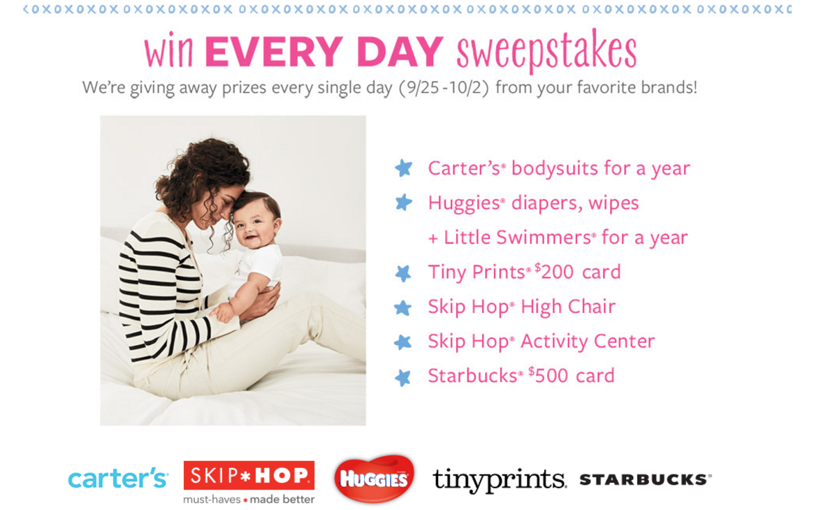 Carter's is giving away gift cards everyday until October 2nd