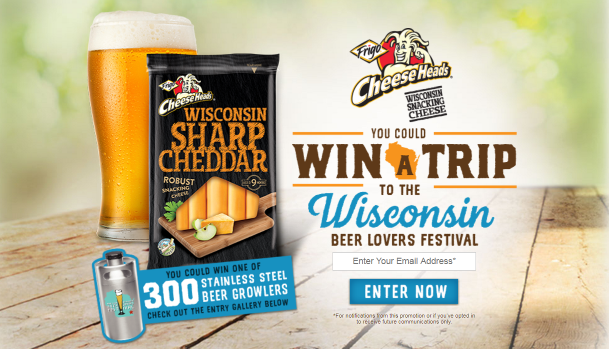 Enter to win a trip to the Wisconsin Beer Lovers Festival and then share a photo showing us your love of Wisconsin SnackingCheeses and beerfor a chance to win. Upload NOW or shareyour photo on Instagram using#CheeseHeadsWisconsinSweepstakes