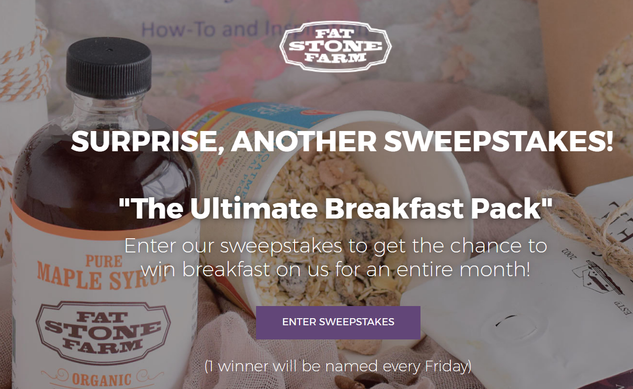 Enter Fat Stone Farm's sweepstakes to get the chance to win FREE breakfast for an entire month! - Weekly Winners!