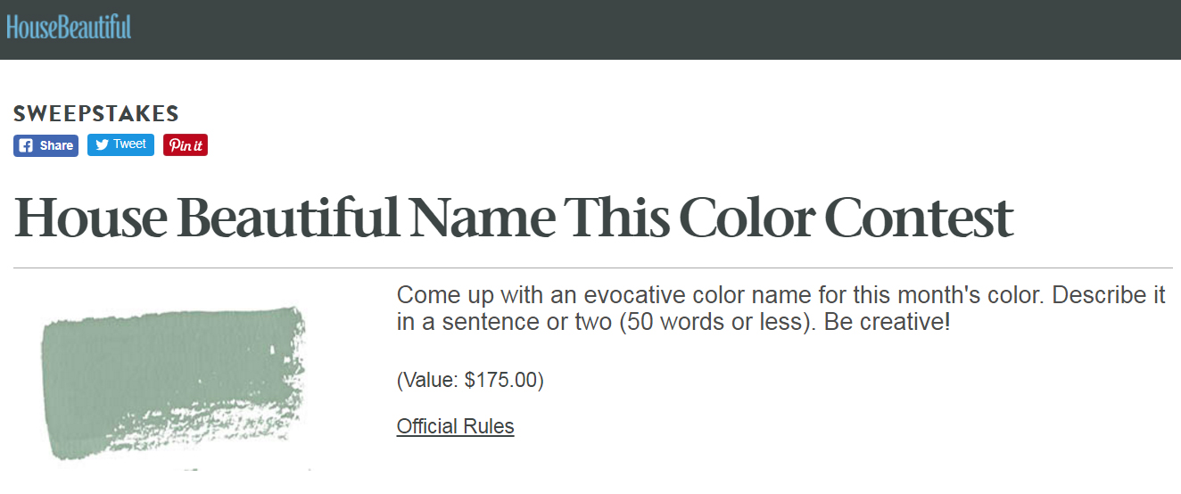 Describe this month's featured color on the House Beautiful website for your chance to win prizes.
