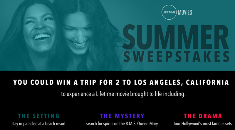 You could win a trip for two to Los Angeles with a stay on the Queen Mary plus a $1,100 American Express gift card and aone year subscription to Lifetime Movie Club.