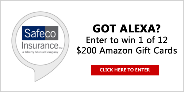 12 WINNERS! Do you own an Alexa device? Take the Safeco quiz and you would win a $200 Amazon gift card