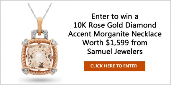 Enter Here to win a 10K Rose Gold Diamond Accent Morganite Necklace worth $1,599
