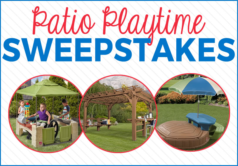 Enter for a chance to win a Step2 Backyard Discovery Oasis 14x10 Pergola with a Step2 Naturally Playful Summertime Play Center and All Around Playtime Patio with Canopy!