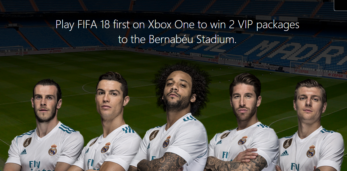 Play FIFA 18 first on Xbox One to win 2 VIP packages to the Bernabéu Stadium. You could win an all-expenses paid trip to the Bernabéu Stadium, home of Real Madrid. This once-in-a-lifetime prize includes airfare, 4 nights accomodation, tickets to a match and VIP access to a Real Madrid clinic. If that's not enough, we've got other great prizes up for grabs, including Xbox One S consoles, Design Lab controllers, Xbox Live Gold subscriptions and copies of FIFA 18!